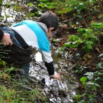 Prélèvement d'eau dans la rivière